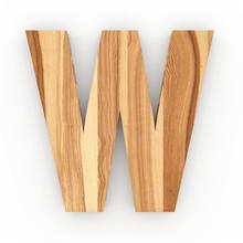 3d Font Wood Ash Letter W