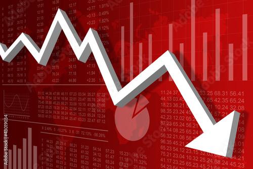 Récession Economique Monde Rouge Wallpaper Mural