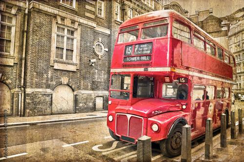 Poster Londres bus rouge Bus vintage à Londres