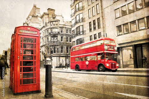 Poster Londres bus rouge London Fleet street vintage