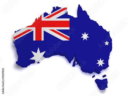 Fotografie, Obraz Australia Map 3d Shape