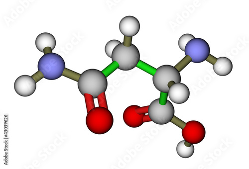 Photo Amino acid asparagine 3D molecular structure