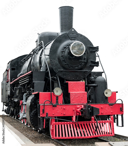Steam train on white background. Wallpaper Mural
