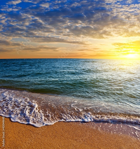 Foto-Schiebegardine Komplettsystem - sunrise on a sea