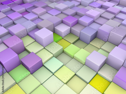 Fototapety, obrazy: abstract 3d cubes backdrop in purple green
