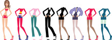 Young Beautiful Paper Dolls Wi...
