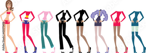 Young beautiful paper dolls with clothes set Canvas-taulu
