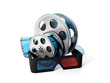 3d illustration: Reels of film and 3D glasses. Isolated image