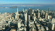 Aerial view of the city of San Francisco and Bay bridge, America, USA
