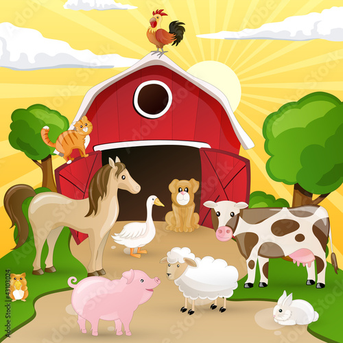 Photo sur Toile Ferme Vector illustration of farm animals infront of a barn