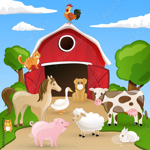 In de dag Boerderij Vector illustration of farm animals infront of a barn