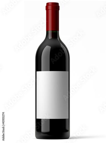 Fotografía  Bouteille de vin rouge sur fond blanc 1