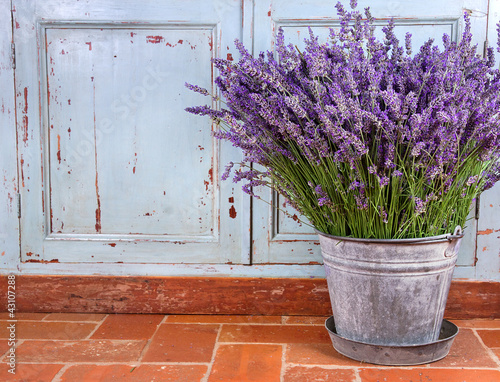 Tuinposter Lavendel Bouquet of lavender in a rustic setting