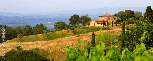Photo Stands Tuscany Tuscan landscape panorama in evening sun