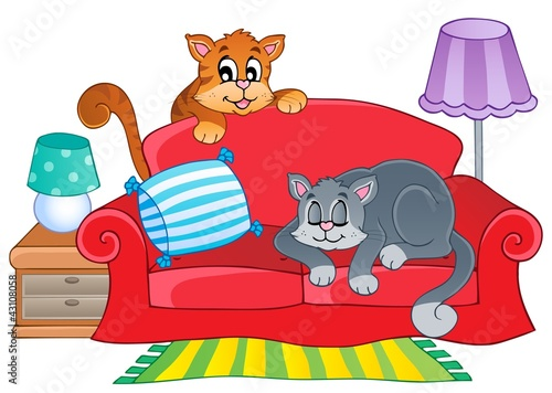 Printed kitchen splashbacks Cats Red sofa with two cartoon cats
