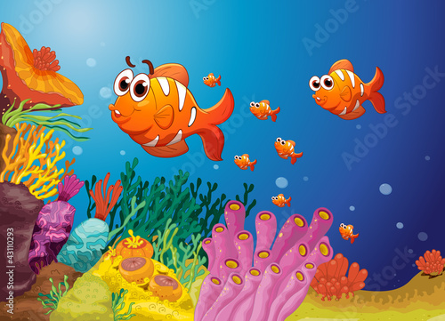 Poster de jardin Sous-marin fish in a blue water