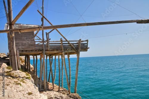 Photo Stands Ship Trabucco. Vieste. Puglia. Italy.