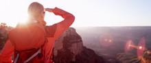 Woman Hiker Looking At Grand C...