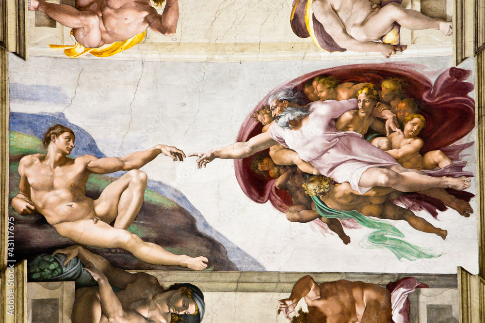 Fototapety, obrazy: Creation of Adam by Michelangelo, Sistine Chapel, Rome
