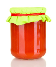 Jar With Tomato Paste Isolated On White