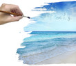 hand painting blue sea background