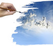 hand painting blue sky with clouds
