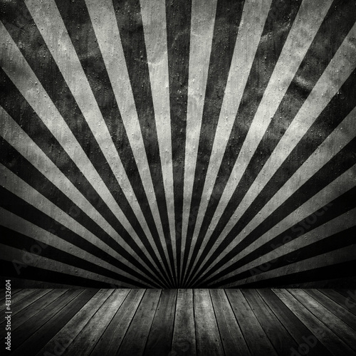 old interior with stripe pattern wall Canvas Print