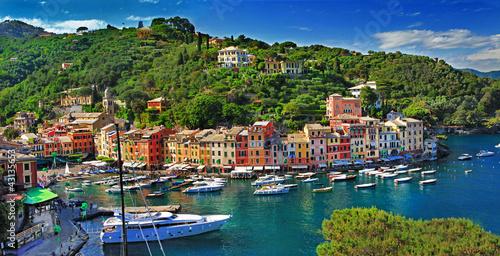 view of Portofino - beautiful town of Ligurian coast, Italy Canvas Print
