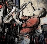 saksofonista na ulicy w nocy - 43135803