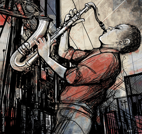 Poster Groupe de musique saxophone player in a street at night