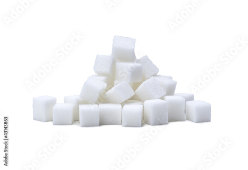 Fotografie, Obraz  pile of refined white sugar cubes