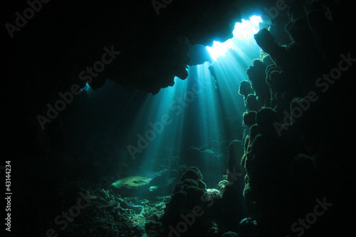 Sunlight in Underwater Cave