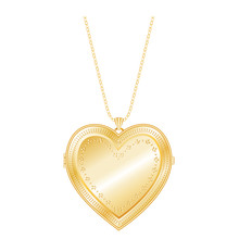Vintage Engraved Gold Heart Locket, Chain Necklace