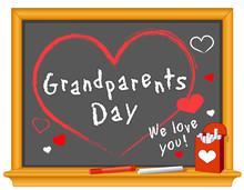 Grandparents Day, Sept. Holiday, Love, Hearts, Chalk, Blackboard
