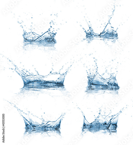 Foto op Plexiglas Water Water splashes collection over white