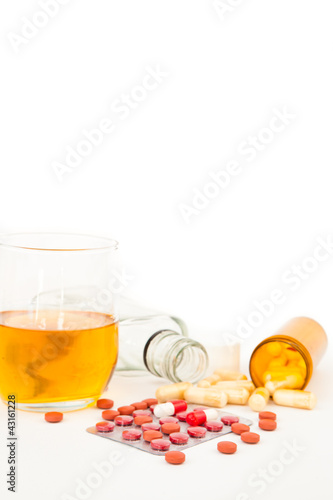 Staande foto Bar Suicide attempt with a mixture of alcohol and medications