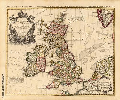 Fototapeta mapa stara-mapa-wielkiej-brytanii