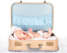 Baby Yawning In A Suitcase