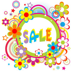 Sale advertisement with circles and flowers