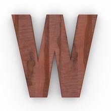 3d Font Wood Apple Letter W