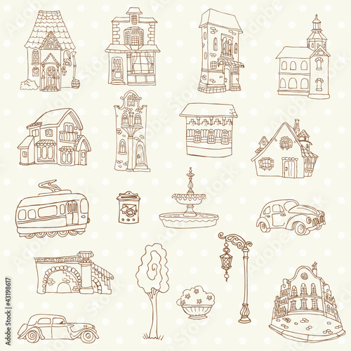 Poster Doodle Scrapbook Design Elements - Small Town Doodles - in vector