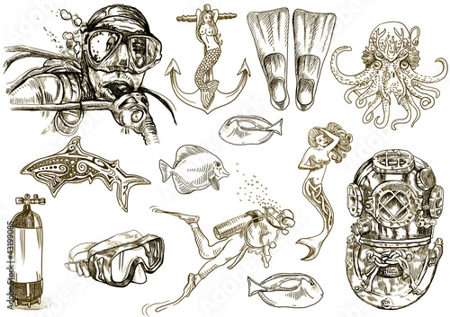 Keuken foto achterwand Duiken diving-the life of aquatic (hand drawing collection of sketches)