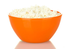 Cottage Cheese In Orange Bowl Isolated On White