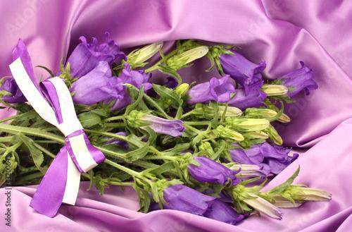 Garden Poster blue bell flowers on purple silk fabric