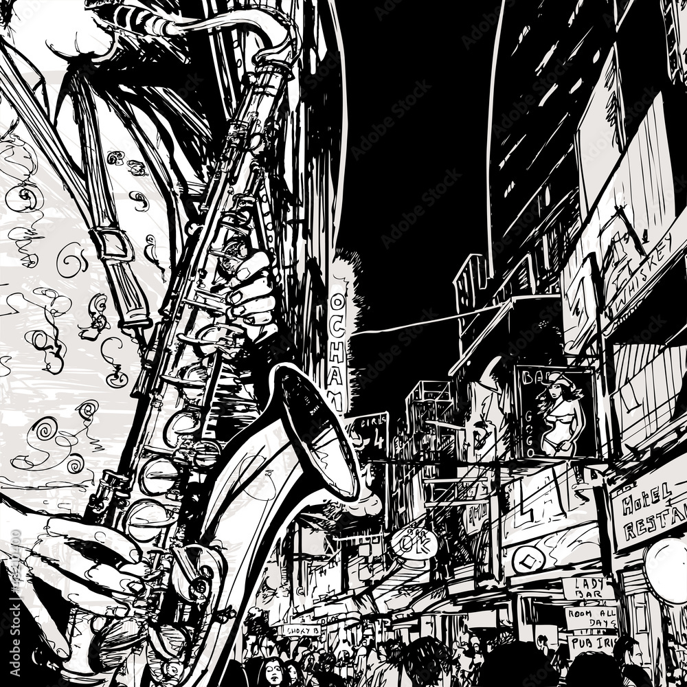 Wall Murals saxophonist playing saxophone in a street - Nikkel Art