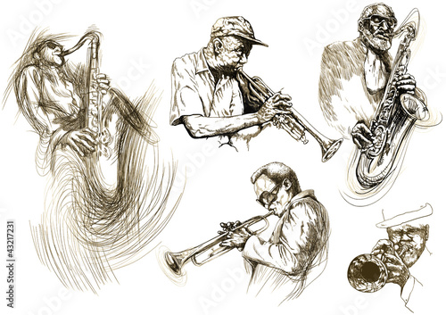 Photo  jazz men (hand drawing collection of sketches)
