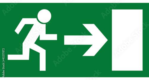 Leinwand Poster Rettungszeichen - Notausgang rechts