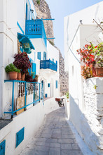 Narrow Street In Greek City