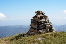 Hiking Cairn Marking A Trail In Mountain