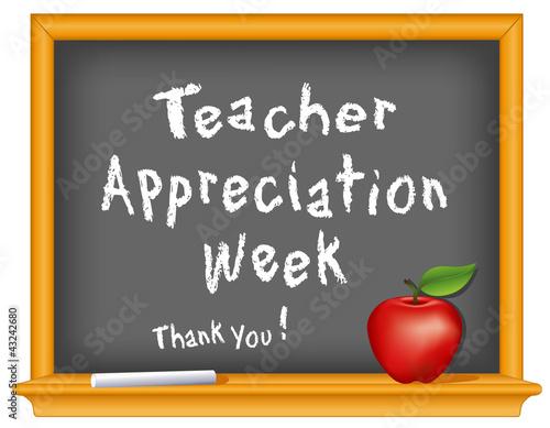 Fotografia  Teacher Appreciation Week, chalk, blackboard, apple, Thank you!